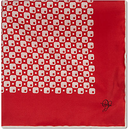 CANALI Retro check silk pocket square (Red