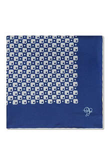 CANALI Retro check silk pocket square