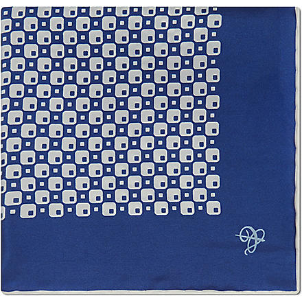 CANALI Retro check silk pocket square (Royal