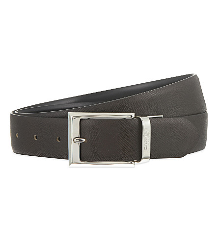 CANALI Reversible leather suit belt (Blk+brwn