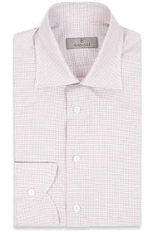 CANALI Modern-fit single-cuff micro graph check shirt