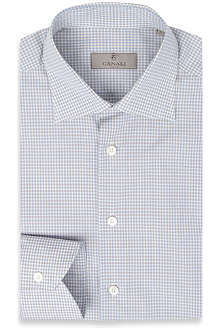 CANALI Micro gingham single-cuff shirt