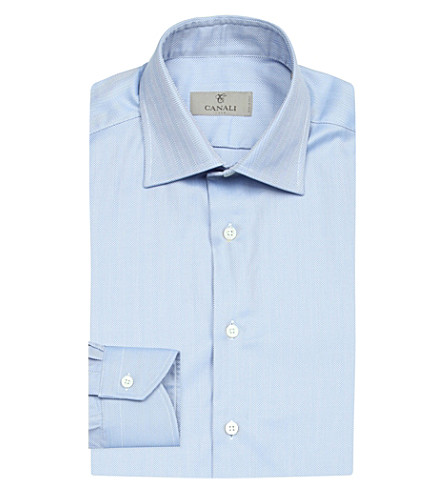 CANALI Herringbone regular-fit cotton shirt (Blue