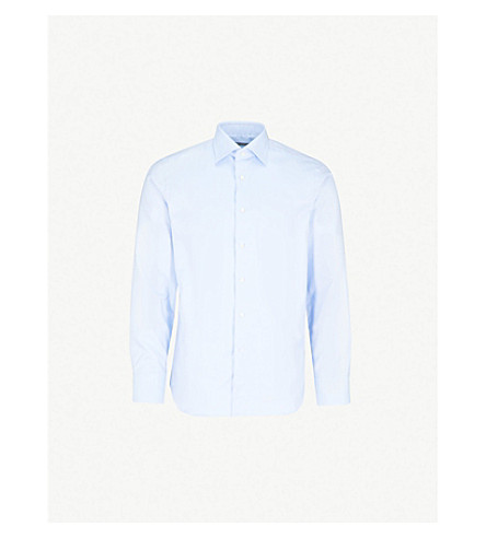 CANALI Herringbone regular-fit cotton shirt (Light+bliue