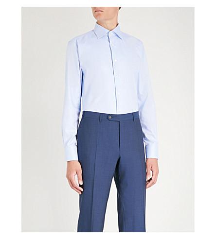 CANALI Herringbone regular-fit cotton shirt (Light+bliue