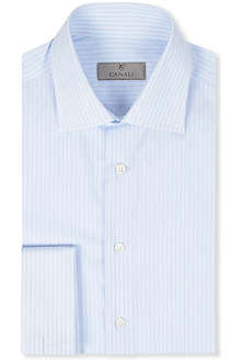 CANALI Modern-fit light blue stripe cotton shirt