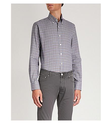 fit regular a gris cuadros CANALI Camisa de algodón HqwxznTIO