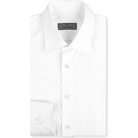 CANALI Diamond jacquard modern-fit shirt (White