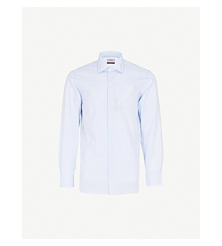 CANALI Regular-fit cotton shirt (Sky