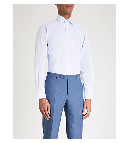 CANALI Regular-fit single-cuff cotton shirt (Sky