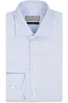 CANALI Reverse graph check single-cuff shirt