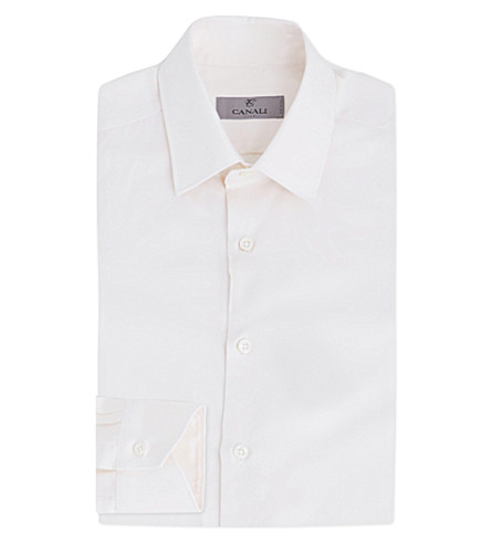 CANALI Regular-fit stretch-cotton shirt (Cream