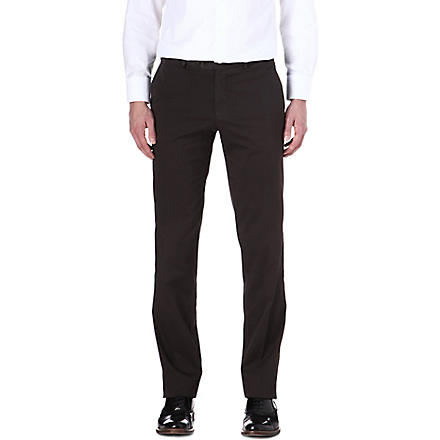 CANALI Straight stretch-cotton trousers (Brown