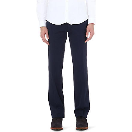 CANALI Straight stretch-cotton trousers (Navy