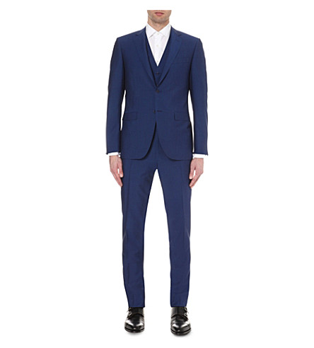 CANALI Three-piece wool and mohair-blend suit (Blue