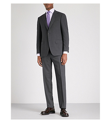 CANALI Grained tailored-fit wool suit (Charcoal