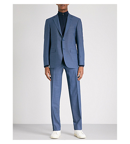 CANALI Birdseye tailored-fit wool suit (Blue