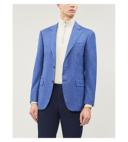 CANALI Textured tailored-fit wool silk and linen-blend jacket (Blue