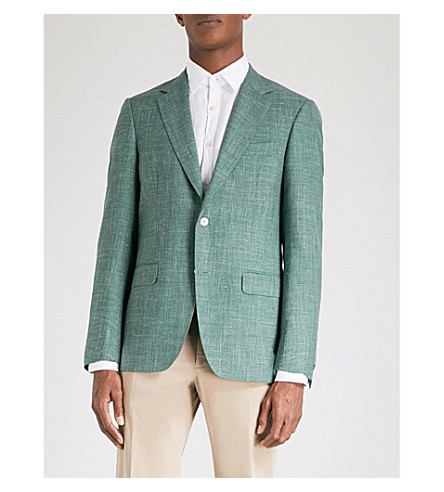 CANALI Textured tailored-fit wool silk and linen-blend jacket (Green