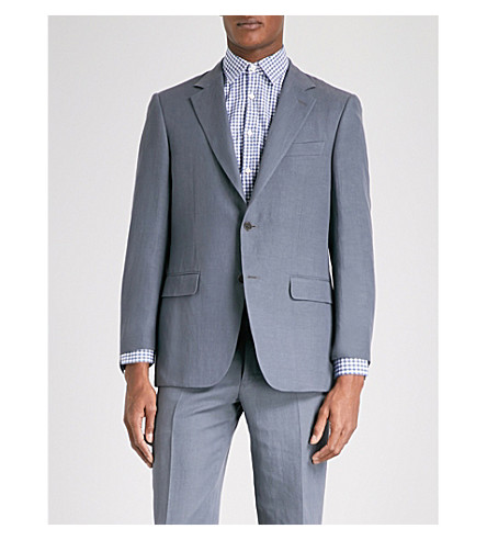 CANALI Tailored-fit linen and silk-blend jacket (Charcoal