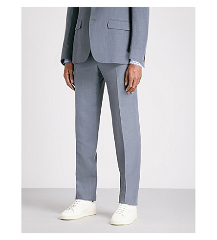 CANALI Tailored-fit linen and silk-blend trousers (Charcoal