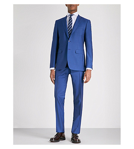CANALI Grained slim-fit wool and mohair-blend suit (Blue