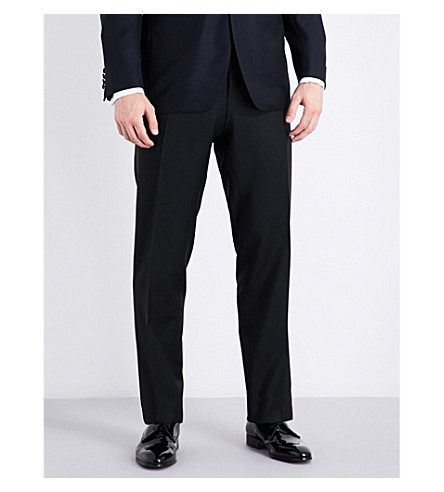 CANALI Regular-fit straight wool-blend trousers (Black