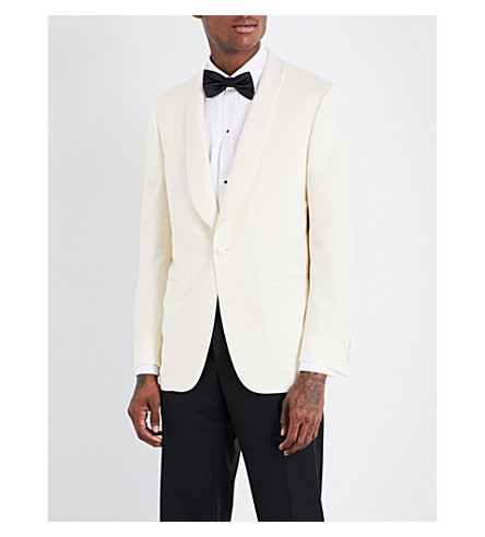 CANALI Single-breasted wool-blend blazer (White