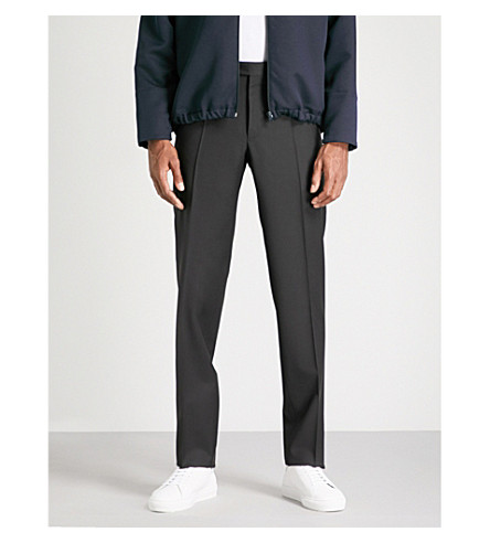 CANALI Tailored-fit wool and mohair-blend trousers (Black