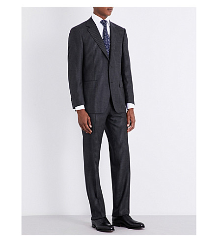 CANALI Pinstripe tailored-fit wool suit (Grey