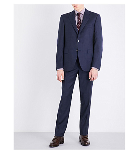 CANALI Nailhead-patterned regular-fit wool suit (Blue