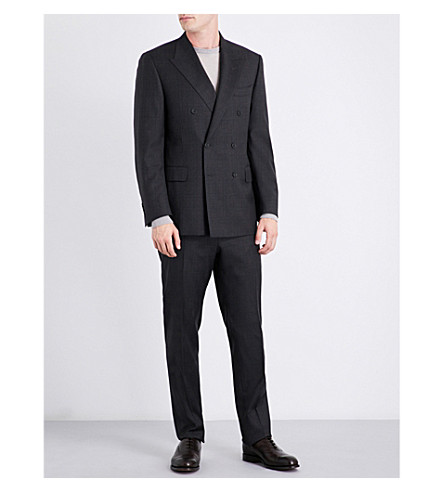 CANALI Double-breasted checked regular-fit wool suit (Grey