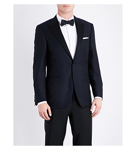 CANALI Regular-fit jacquard jacket (Navy