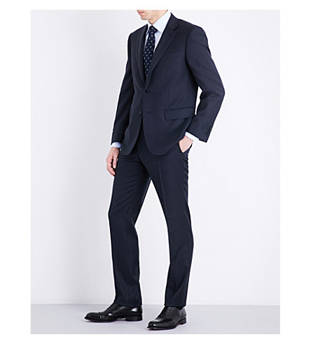 CANALI Check slim-fit wool suit (Navy