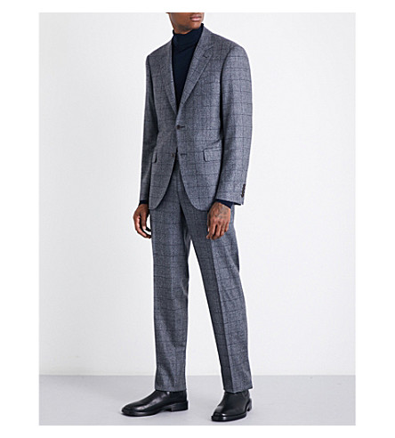 CANALI Checked tailored-fit wool suit (Grey