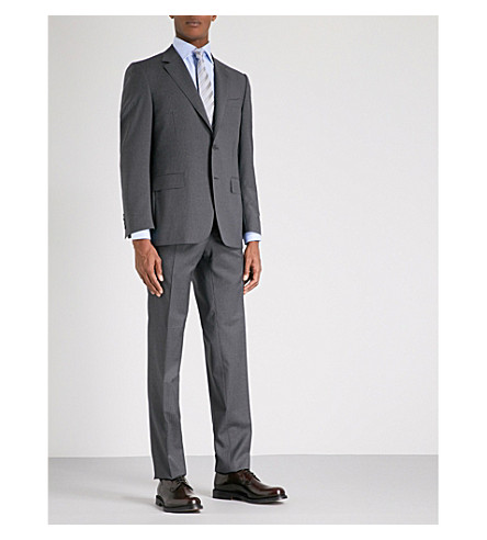 CANALI Pinstripe regular-fit wool suit (Charcoal