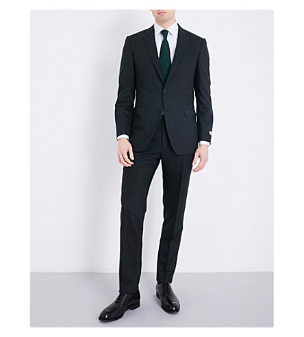 CANALI Nailhead slim-fit wool suit (Green