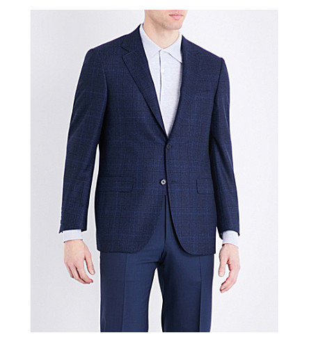 CANALI Regular-fit Prince of Wales check wool jacket (Bright+blue