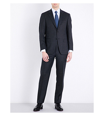 CANALI Nailhead tailored-fit wool suit (Charcoal