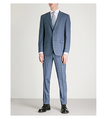 CANALI Impeccabile 2.0 checked regular-fit wool suit (Navy