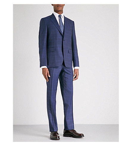 CANALI Checked regular-fit wool suit (Navy
