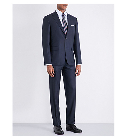 CANALI Birdseye tailored-fit wool suit (Blue