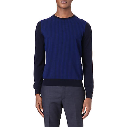 CANALI Geometric panel jumper (Navy
