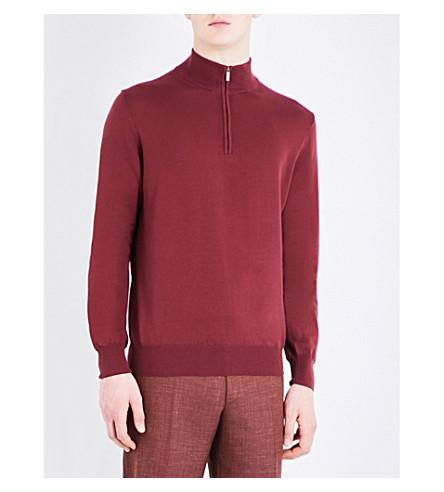 CANALI Zip collar knitted jumper (Burgundy