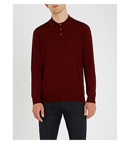 CANALI Long-sleeved knitted polo (Burgundy