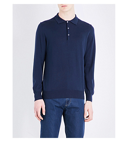 CANALI Knitted polo jumper (Navy