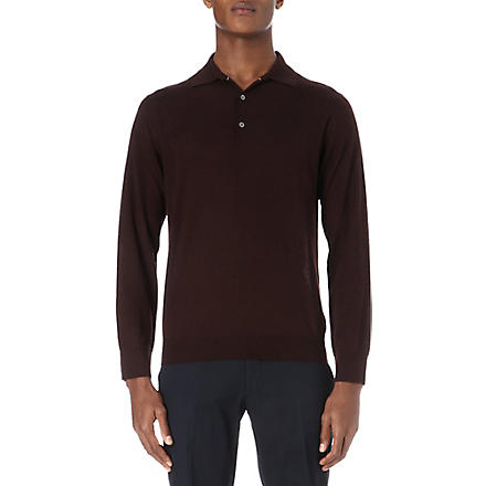 CANALI Cashmere-silk polo shirt (Chocolate