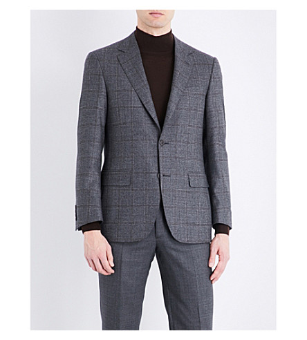 CANALI Regular-fit windowpane check wool jacket (Grey