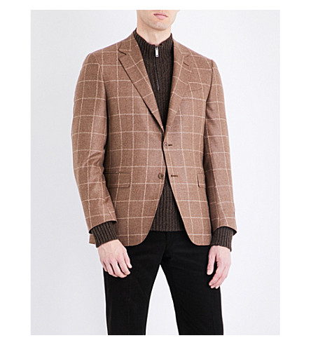 CANALI Windowpane check slim-fit wool and cashmere jacket (Light+brown