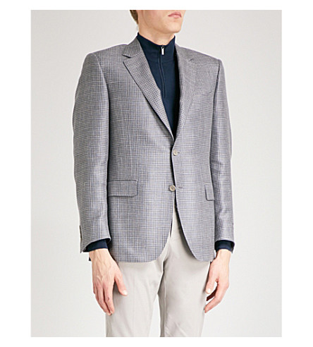 CANALI Houndstooth wool and silk-blend jacket (Grey